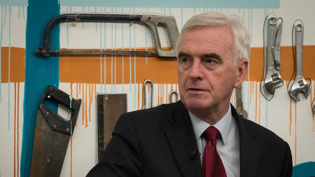 Shadow chancellor John McDonnell visits Make Liverpool, an open access business unit that allows small start up companies to rent space and use equipment to help their businesses grow