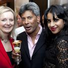 D&D London chief executive Des Gunewardena with MP Elizabeth Truss and Celebrity chef Ravinder Bhogal at the launch of South Place Hotel in London