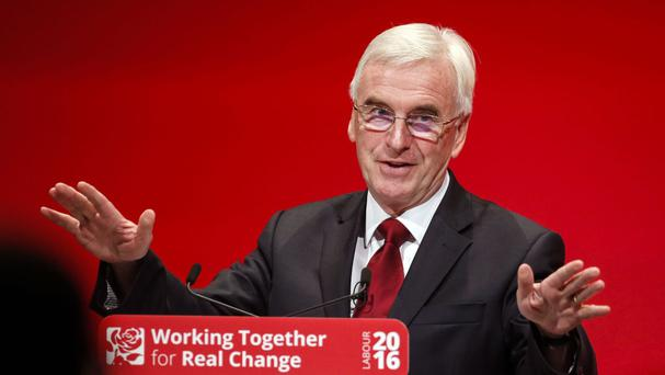 John McDonnell speaks during the Labour conference