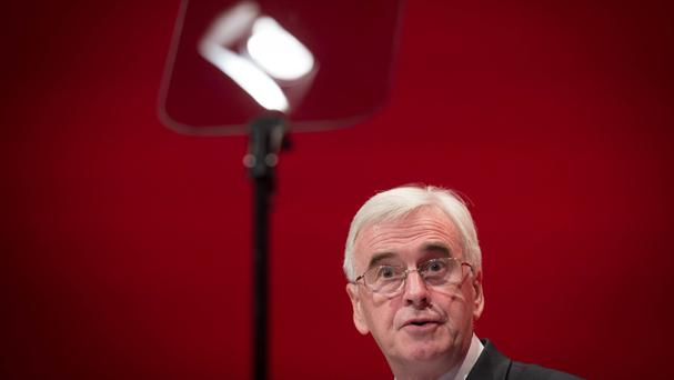 Shadow Chancellor John McDonnell speaks at the Labour Party conference in Liverpool