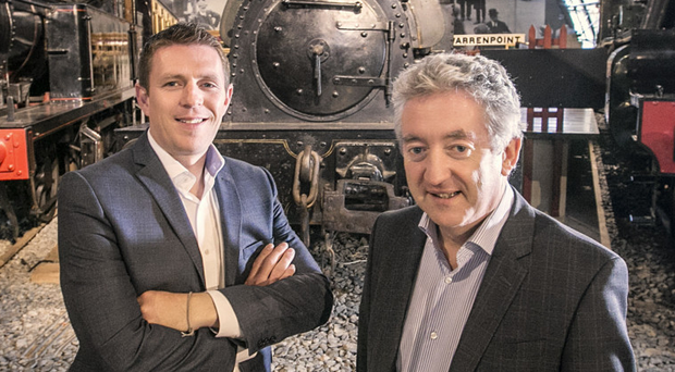 Gareth Quinn (left) and Tourism NI chief John McGrillen at the Transport Museum, Cultra