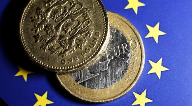 Sterling was down 0.1% to 1.14 euros in morning trading