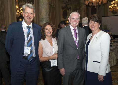 Dorcas Crawford took part in a trade mission to Washington to promote the legal sector last month. From left, Liam McCollum QC with Dorcas, John Gordon of Napier & Sons Solicitors and First Minister Arlene Foster