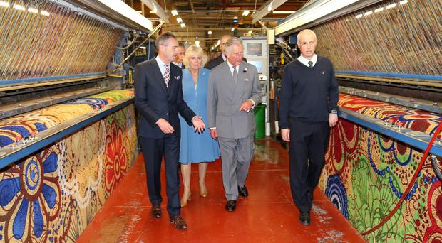 Prince Charles and Duchess of Cornwall visiting Ulster Carpets earlier this year