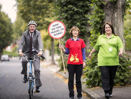 Minister Mairtin O Muilleoir with Pamela Grove-White of Sustrans and Sharon McBratney from Asda in Dundonald