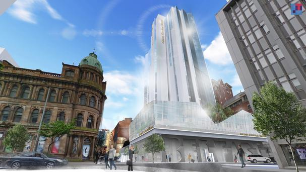An image of the proposed Grand Central Hotel in Belfast which will be built on the old Windsor House site