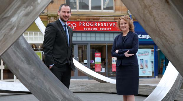 Darina at the opening last year of the Progressive's Cornmarket branch with customer services manager Kevin Flannery