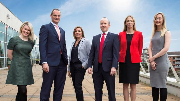 From left: Emma Robertson, solicitor, Ross Davidson, principal, Clare Templeton, solicitor, David McDonnell, principal, Vicky Dummigan, consultant and Michaela Kilpatrick, solicitor