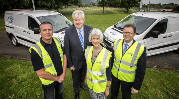 From left: Neil Winters of NI Water, Raymond Donnelly of Donnelly Group Ltd, Jane Mellor, head of operational procurement at NI Water, and Ronan Larkin, director of finance and personnel at the company