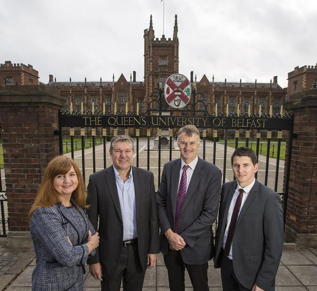 From left: Jayne Brady, partner at Kernel Capital; Dr Bob Pollard, chief executive of Causeway Sensors; William McCulla, director of corporate finance at Invest NI, and Odhran McNeilly, of Bank of Ireland UK