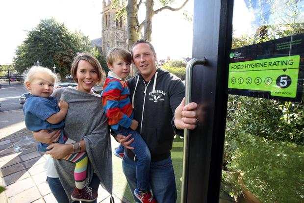 Gareth and Alison Shields with their children Jonah (5) and Amelie (2) go out for dinner following changes to the Food Standards Agency regime of hygiene ratings