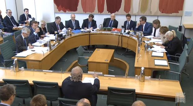 Sir Philip Green (back to camera) giving evidence to the Business, Innovation and Skills Committee and Work and Pensions Committee