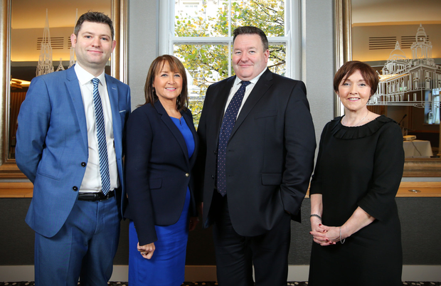 Chris Morrow, head of policy at NI Chamber; Ann McGregor, chief executive of NI Chamber; Brian Murphy of BDO; and economist Maureen O'Reilly