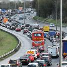 Heavy traffic on the M2 heading into Belfast, towards its intersection with the M3 and Westlink