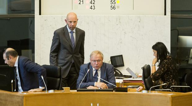 President Andre Antoine asks the members of the Walloon parliament to vote on the free trade deal (AP)
