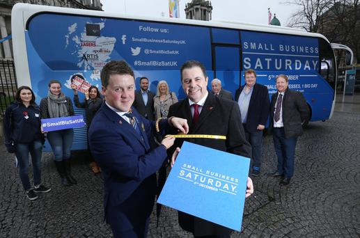 Glyn Roberts promoting Small Business Saturday UK in 2015 with Chris Suitor of Suitor Menswear