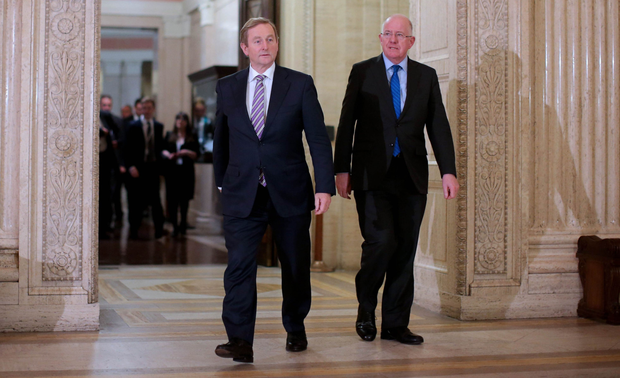 The Republic's Taoiseach Enda Kenny and Foreign Affairs Minister Charlie Flanagan in Parliament Buildings, Stormont, last night
