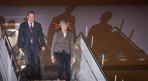 Theresa May arriving in India