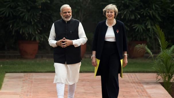 Theresa May with Indian prime minister Narendra Modi