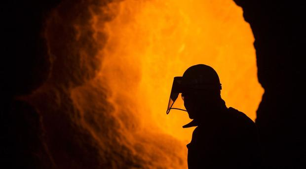 A worker at a British Steel plant in Scunthorpe