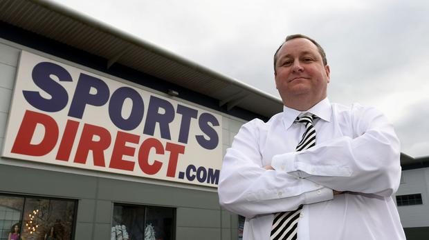 Sports Direct founder Mike Ashley outside the warehouse in Shirebrook, Derbyshire