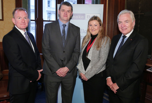 From left, Belfast Telegraph managing director Richard McClean, INM chief executive Robert Pitt, Olivia O'Kane, chair of the Belfast Solicitors Association, and Len O'Hagan, INM non-executive director, at the Northern Ireland Post Brexit event organised by the association and The Bar of Northern Ireland at the Reform Club, Belfast