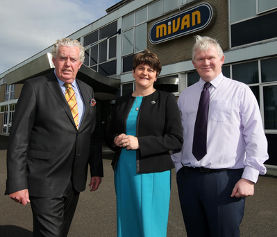 First Minister Arlene Foster with Brian McConville (left), the head of Mivan owner MJM Group, and CEO Neil Ward