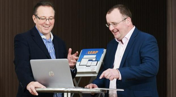 Peter Baverstock (left), Leap UK chief executive, at the launch of Leap NI with entrepreneur Ross Boyd