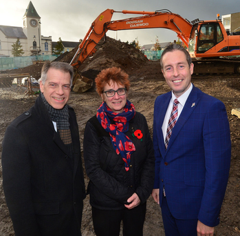 Communities Minister Paul Givan visited Ballyclare to announce a new £5.2m housing scheme. He was joined by Michael McDonnell, chief executive of Choice Housing, and Hazel Bell, Choice Housing chair