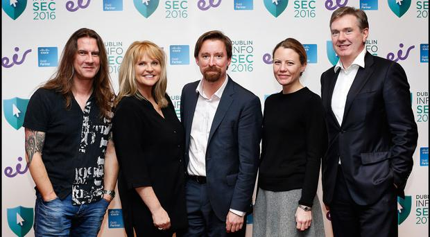 Pictured at the Dublin InfoSec2016 Conference at the RDS was (from left), Rik Ferguson, global vice-president of security research at Trend Micro, cyber-psychologist Dr Mary Aiken, Adrian Weckler, from INM, Sarah Harrison, from WikiLeaks, and Stephen Rae, Group Editor in Chief at INM