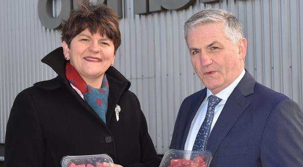 First Minister Arlene Foster with Jim Dobson, MD of Dunbia Groupa