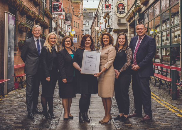 From left, David McClurg, Carla Fraser, Cathy Warnock, Dorcas Crawford, Catherine Cooney and David Sturgess from Edwards with Orlagh Kelly of THINK Data (centre)