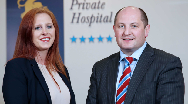Pictured left is Sarah Callender, BT Field Account Manager with Mark Regan, CEO Kingsbridge Private Hospital