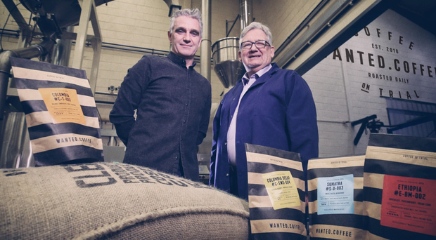 Marks Design director Frank McGrady (left) with Martin Symington, the owner of Wanted.Coffee