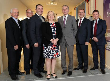 Finance Minister Mairtin O Muilleoir has opened a new public sector shared data centre at BT in Belfast, where clients include NI Water and Translink. (L to R) Seamus Doyle of NI Water, Liam McIvor of BSO, Paul Murnaghan of BT, Karen Bailey of BSO, Mairtin O Muilleoir, Paul Wickens of ESS and Gordon Milligan of Translink