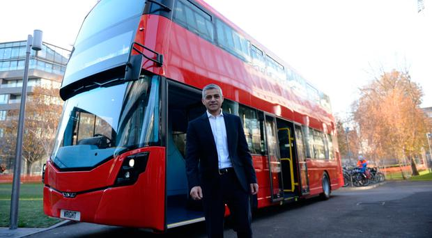 Mayor of London Sadiq Khan unveils the world's first hydrogen double-decker bus, made by Ballymena firm Wrightbus