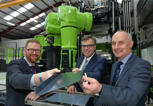 From left: Economy Minister Simon Hamilton, Invest Northern Ireland chief executive Alastair Hamilton and Jim Erskine, managing director of CCP Gransden