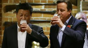 Former PM David Cameron and Chinese President Xi Jinping at The Plough at Cadsden