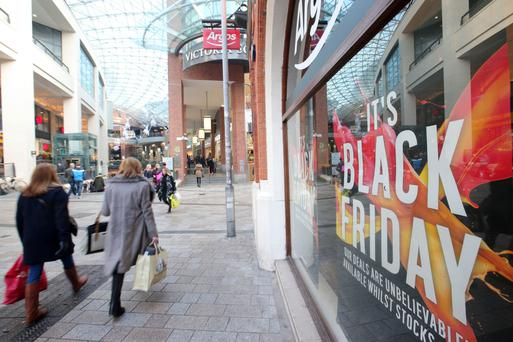 Black Friday shoppers at Victoria Square in Belfast City Centre.
