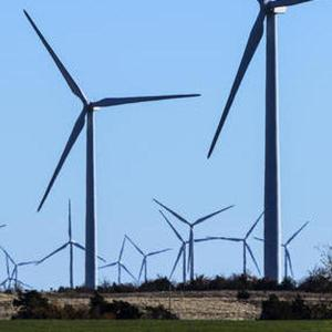 Wind turbines at a wind farm in Minco, Oklahoma, that provides Google with some of its renewable energy (Tim Boyles Photography/Google via AP)