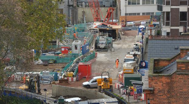 Crossrail construction work in Hanover Square, London