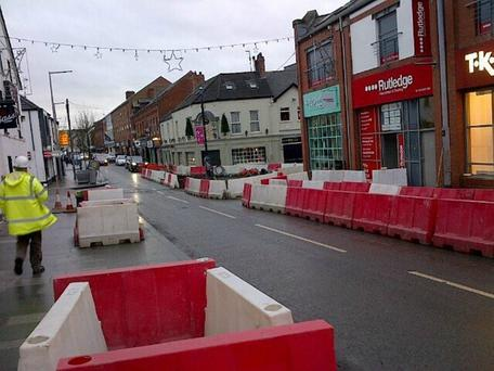 Roadworks in Ballymena