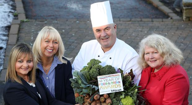 Attending the launch of the NI Year of Food and Drink Awards were (from left) Susie Brown of Tourism NI, Jackie Reid of the Belfast Telegraph, Paul McKnight of the Culloden Hotel, Cultra, and Michele Shirlow, FoodNI