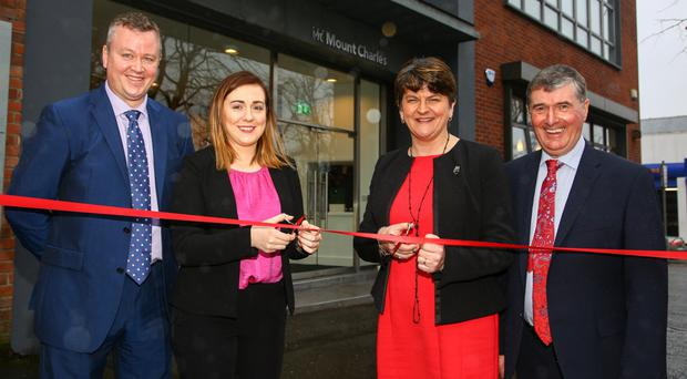 Mount Charles MD Cathal Geoghegan, Junior Minister Megan Fearon, First Minister Arlene Foster and Mount Charles chairman and founder Trevor Annon at the opening of the building