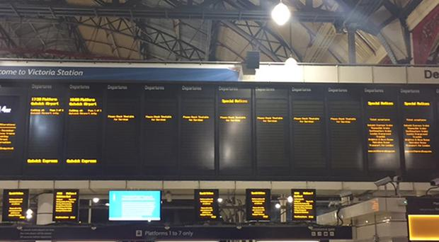 Empty departure boards at London's Victoria station amid the Southern strike