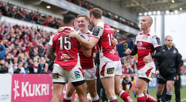 Ulster's Charles Piutau celebrates with Tommy Bowe, Paddy Jackson and Ruan Pienaar after scoring against Clermont last week at at Ulster Rugby's Kingspan Stadium, which was built by Heron Bros