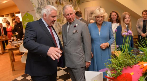 Prince Charles and the Duchess of Cornwall on their visit to The Yellow Door in Portadown where they met local businesses as part of the Northern Irish Year of Food and Drink