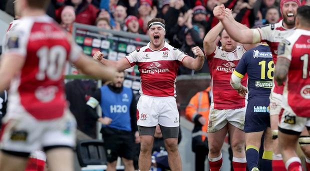 Ulster rugby player Rob Herring in celebratory mood