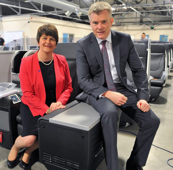 Then Enterprise Minister Arlene Foster and Gary Montgomery, chief executive of Thompson Aero Seating, in 2014