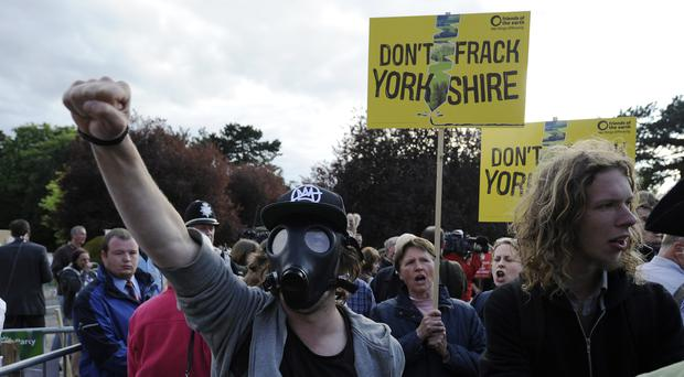 Protesters demonstrate against the approval of an application by Third Energy to frack for shale gas near Kirby Misperton